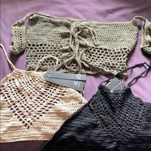 Three crocheted tops